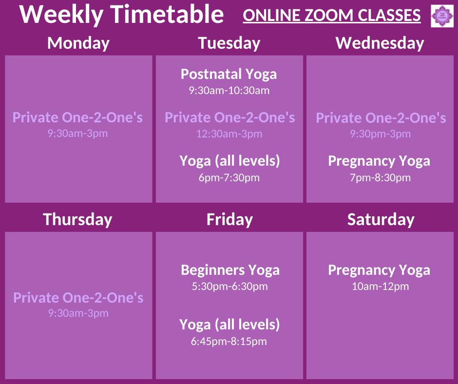 Weekly Yoga Timetable