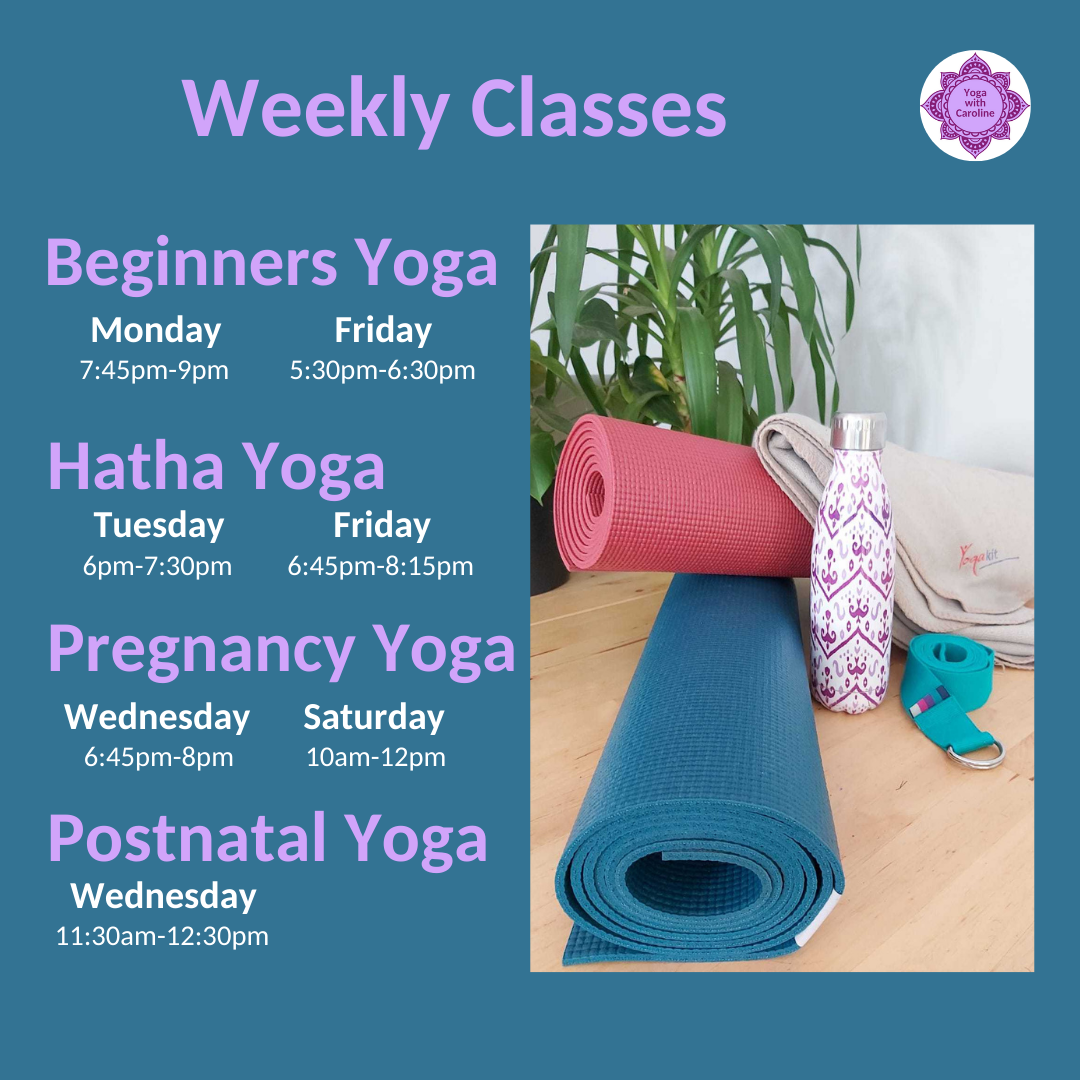Weekly yoga class timetable